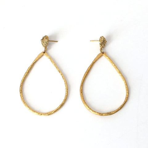 Gold Teardrop Hoop Earrings on Round Carved Post