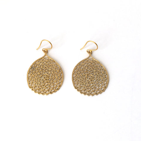 Gold Filigree Sea Fan Earrings