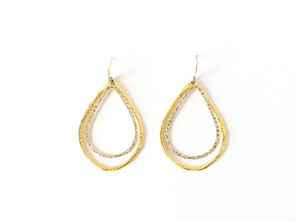 'Mixed Doubles' Teardrop Hoop Earrings in Gold with Silver