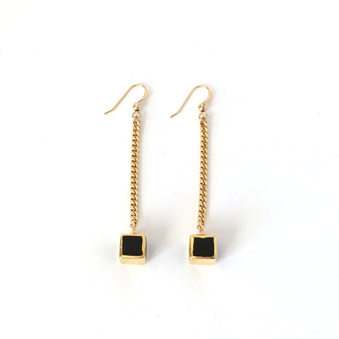 Earrings-Black Onyx and Gold Swinging Cubes