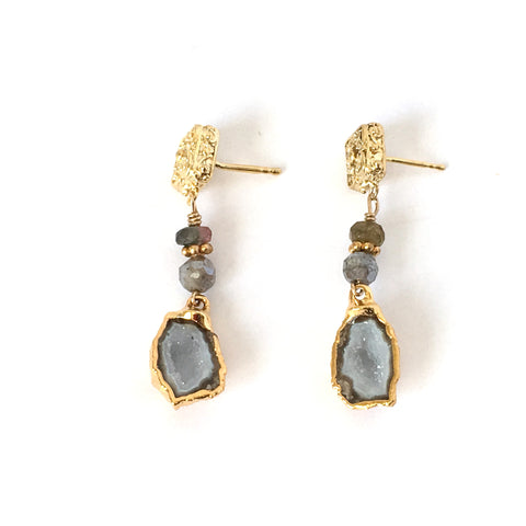 Pale blue-gray Druzy Agate drop Post Earring