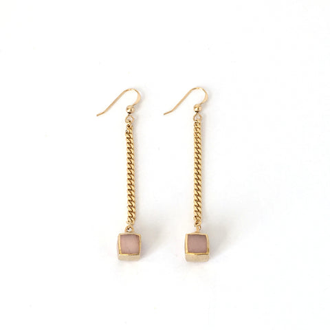 Earrings-Pink Agate and Gold Swinging Cubes