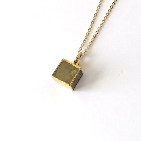 Pyrite and Gold Cube Necklace