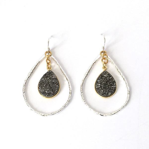 Silver and Charcoal Druzy Teardrop Hoop Earrings