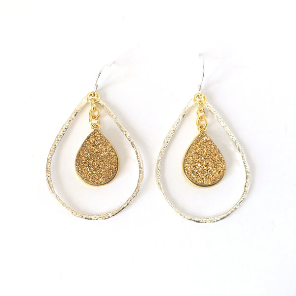 Silver and Gold Druzy Teardrop Hoop Earrings