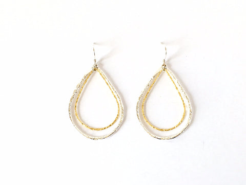 'Mixed Doubles' Teardrop Hoop Earrings in Silver with Gold
