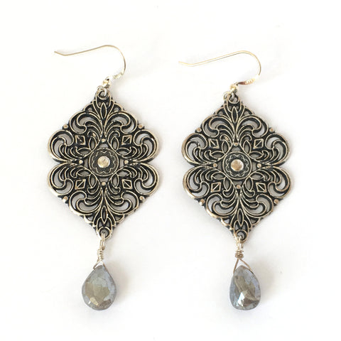 Silver Filigree Medallion and Labradorite Earrings