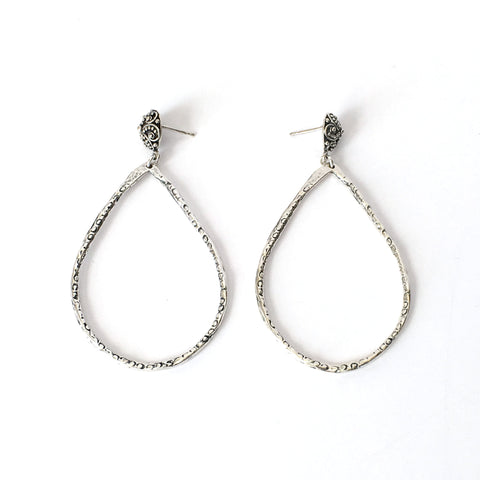 Silver Teardrop Hoop Earrings on Round Carved Post