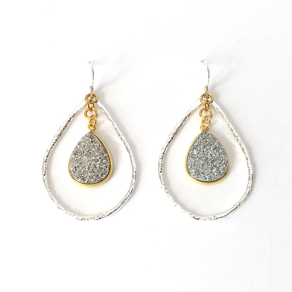 Silver and Silver Druzy Teardrop Hoop Earrings