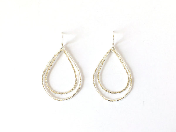 Silver Double Teardrop Hoop Earrings