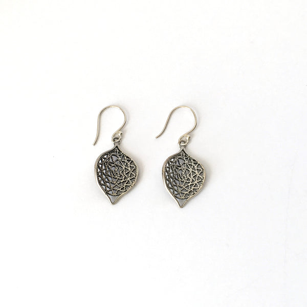 Small Silver Filigree Ripple Leaf Earrings