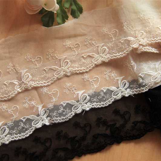 5 Yards of 7cm Width Bow Tie Floral Embroidery Lace Embellishment Trim