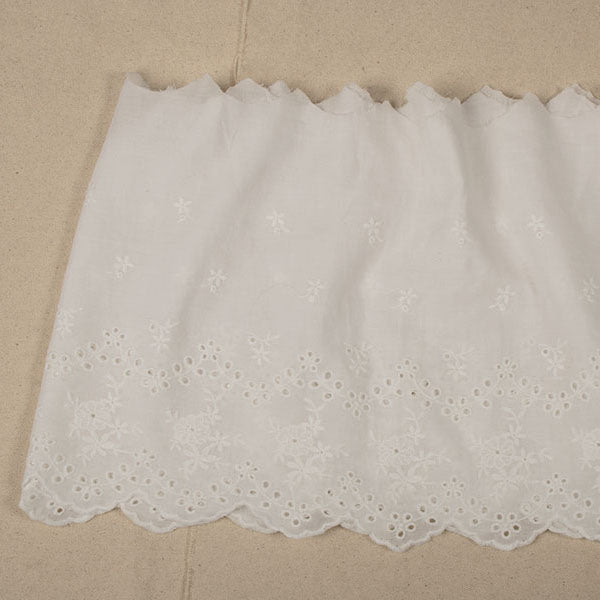2 Yards of 19cm Width Floral Embroidered Cotton Eyelet Fabric Trim