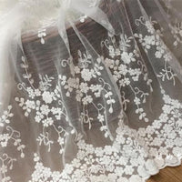 130cm Width Floral Embroidery Lace Fabric by the Yard