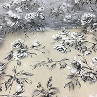 "110"" Width Impressional Peony Floral Print Organza Fabric by The Yard"