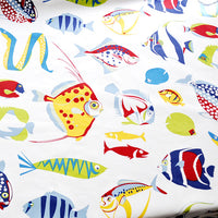 150cm Width Length Colorful Sea Fish Print Cotton Linen Fabric by the Yard