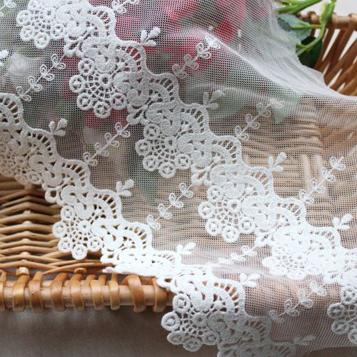 3 Yards of 21cm Width Parallel Floral Embroidery Fine Lace Fabric Trim