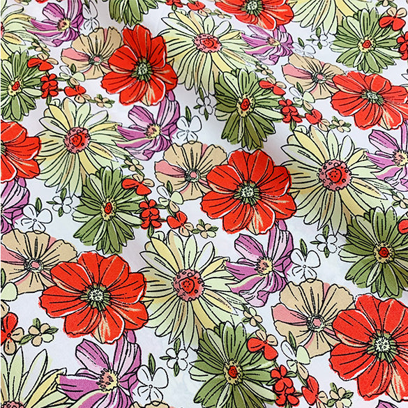 145cm Width x 90cm Length Colorful Daisy Flower Print Pattern Cotton Fabric