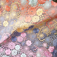 130cm Width Romantic Colorful Organza Floral Embroidery Lace Fabric by the Yard