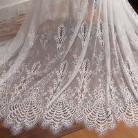 150cm Width x 300cm Length Premium Vintage Hollow out Eyelash Embroidery Lace Fabric