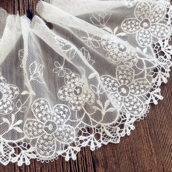 5 Yards of 10.5cm Width Classical Floral Embroidery Lace Fabric Trim