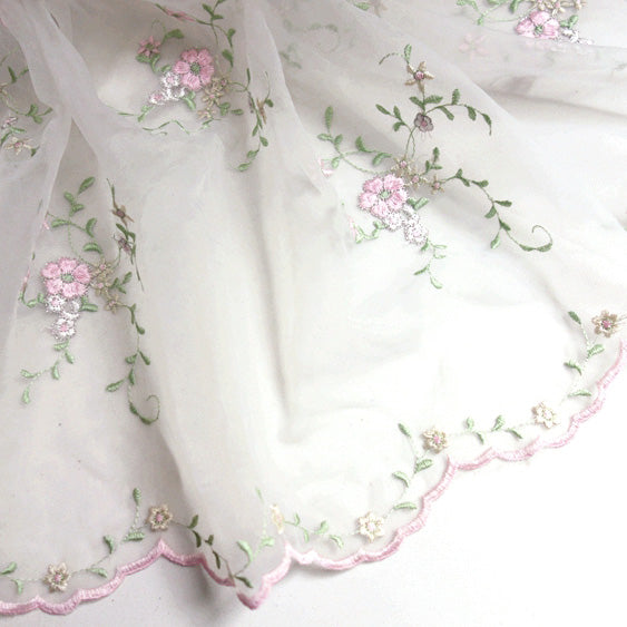 130cm Width Vivid Pink Floral Embroidery Lace Fabric by the Yard