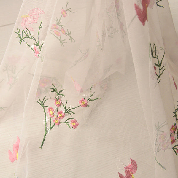 155cm Width x 95cm Length Chiffon Tulle Floral Embroidery Lace Fabric