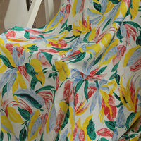 140cm Width Length Abstract Heavy Color Floral Print Fabric by the Yard