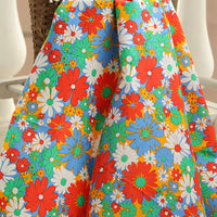 145cm Vintage Colorful Daisy Floral Print Cotton Fabric by the Yard