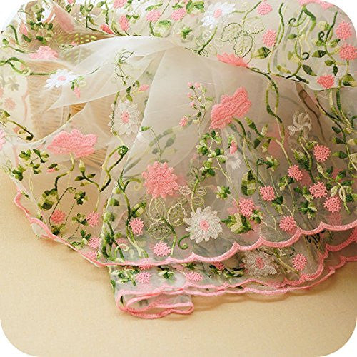 "Lace Fabric Organza Pink Flower Embroidery Wedding Fabric 51"" Width by the Yard"