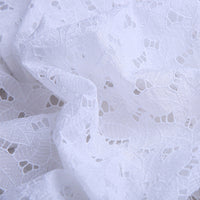 128cm Width Leaf Pattern Hollow out Eyelet Silk Cotton Fabric by the Yard