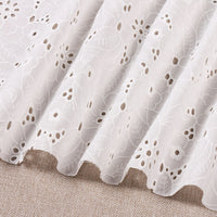 130cm Width Length Premium Leaf Flower Eyelet Cotton Fabric by the Yard