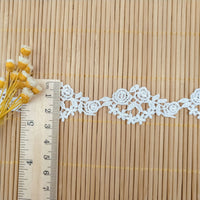 4.5 Yards x 2.5cm Width  Premium Rose Floral Water Soluble Chemical Lace Ribbon