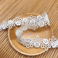 2.1cm Width x 4.5 Yards  Premium Floral Water Soluble Chemical Lace Ribbon
