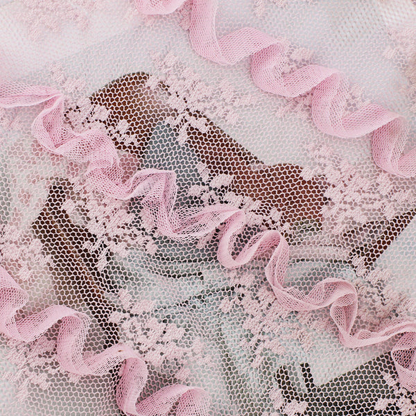 140cm Width  Wave Decor Floral Embroidery Lace Fabric by the Yard