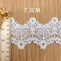 4.5 Yards x 7.3cm Width  Vintage Flower Water Soluble Chemical Lace Ribbon