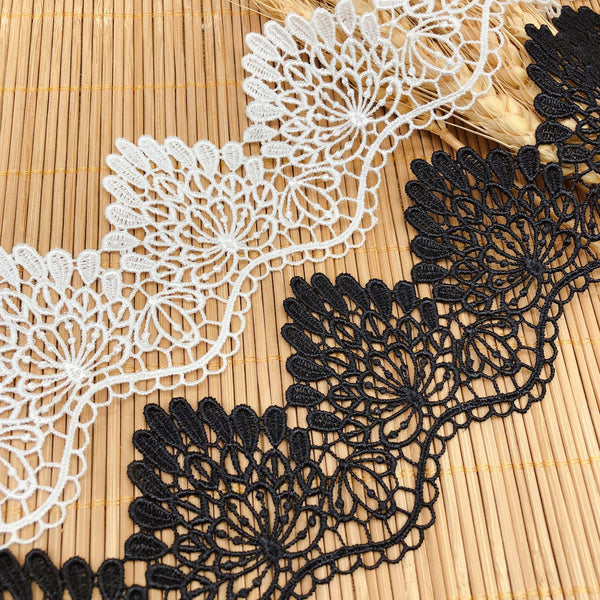 7cm Width x 4 Yards  Premium Retro Floral Soluble Chemical Lace Ribbon