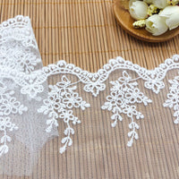 4.5 Yards x 11cm Width Premium Branch Floral Embroidery Tulle Lace Trim Frill Lace