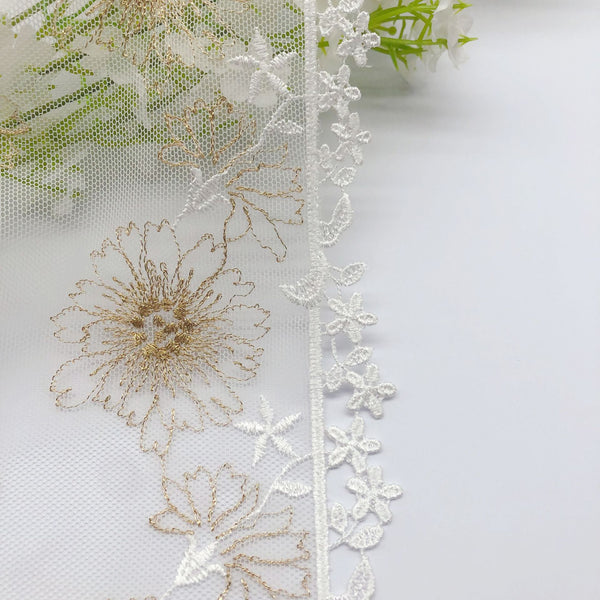 3 Yards of 16cm Width Premium Golden Flower Embroidery Tulle Lace Trim Frill Lace