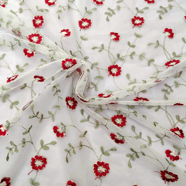 130cm Width Red Floral and Vine Branch Embroidery Lace Fabric by the Yard