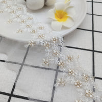 4.5 Yards of 6.5cm Width Premium Golden Line Vine Floral Embroidery Tulle Lace Trim Frill Lace