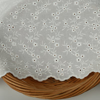 135cm Width Floral Embroidery Eyelet Cotton Fabric by the Yard