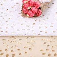 120cm Width Hollow-out Embroidery Eyelet Cotton Fabric by the Yard