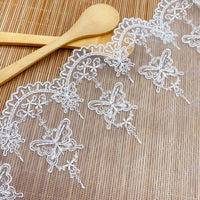 3 Yards of 17cm Width Premium  Butterfly Embroidery Tulle Lace Trim Frill Lace