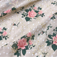125cm Width Floral Print Eyelet Chiffon Fabric by the Yard