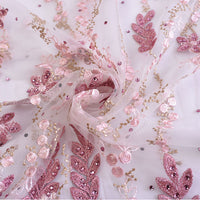 130cm Width x 95cm Length Royal Vintage Sequined Floral Embroidery Lace Fabric