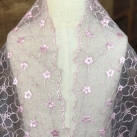 14cm Width x 270cm Length Cute Pink Floral Embroidery Lace Fabric Trim