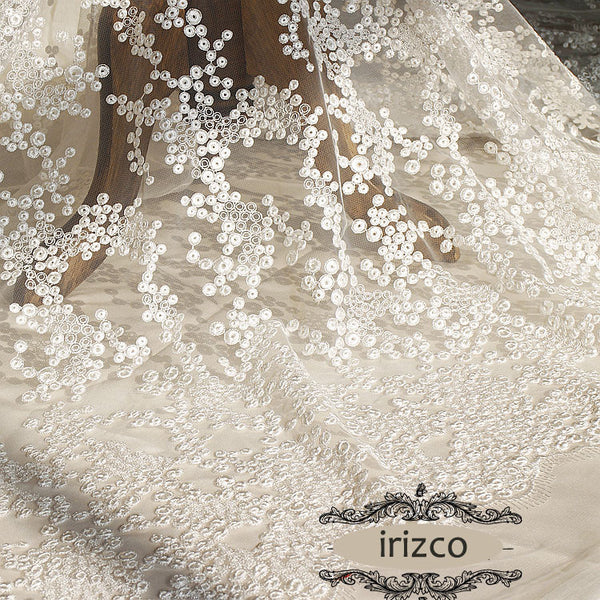 "59"" Width Ivory Wedding Embroidery Dotted Lace Fabric by the Yard"
