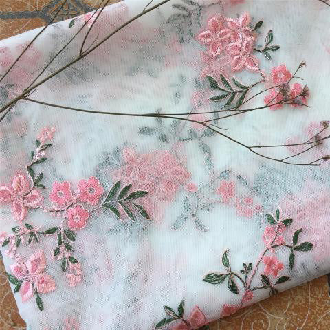 150cm Width Pink Flowers Branch Embroidery Lace Fabric by the Yard