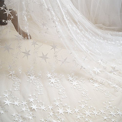 "55"" Width Stars Embroidery Fashion Lace Fabric Wedding Dress Lace Fabric by the yard"